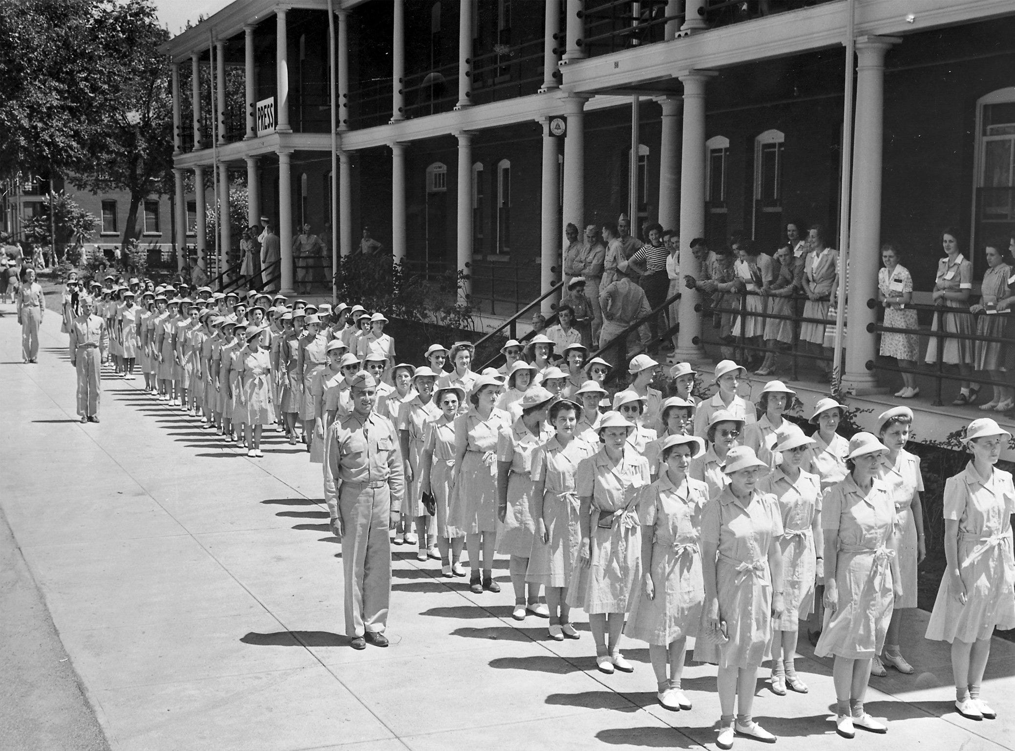 Women's Army Auxiliary Corps members formed ranks in front of the barracks on July 21, 1942, their first day of training at the Fort Des Moines Army post. The name was changed to Women's Army Corps in 1943.