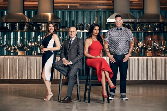 """Pictured from left: Gail Simmons, Tom Colicchio, Padma Lakshmi, Graham Elliot, of """"Top Chef."""""""