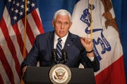 United States Vice President Mike Pence visited Des Moines to rally for congressman David Young and Iowa Gov. Kim Reynolds on Friday, Oct. 19, 2018.