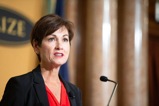 Governor Kim Reynolds speaks at the 2018 World Food Prize Laureates Award Ceremony at the Iowa State Capitol Building Thursday, Oct. 18, 2018.Thursday, Oct. 18, 2018.