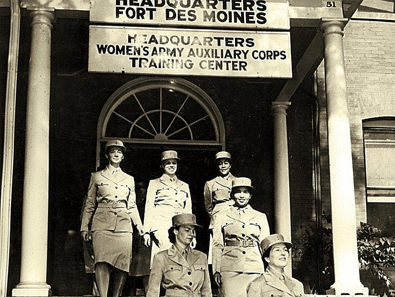 Women leave headquarters where they are trained for behind-the-lines war duty.