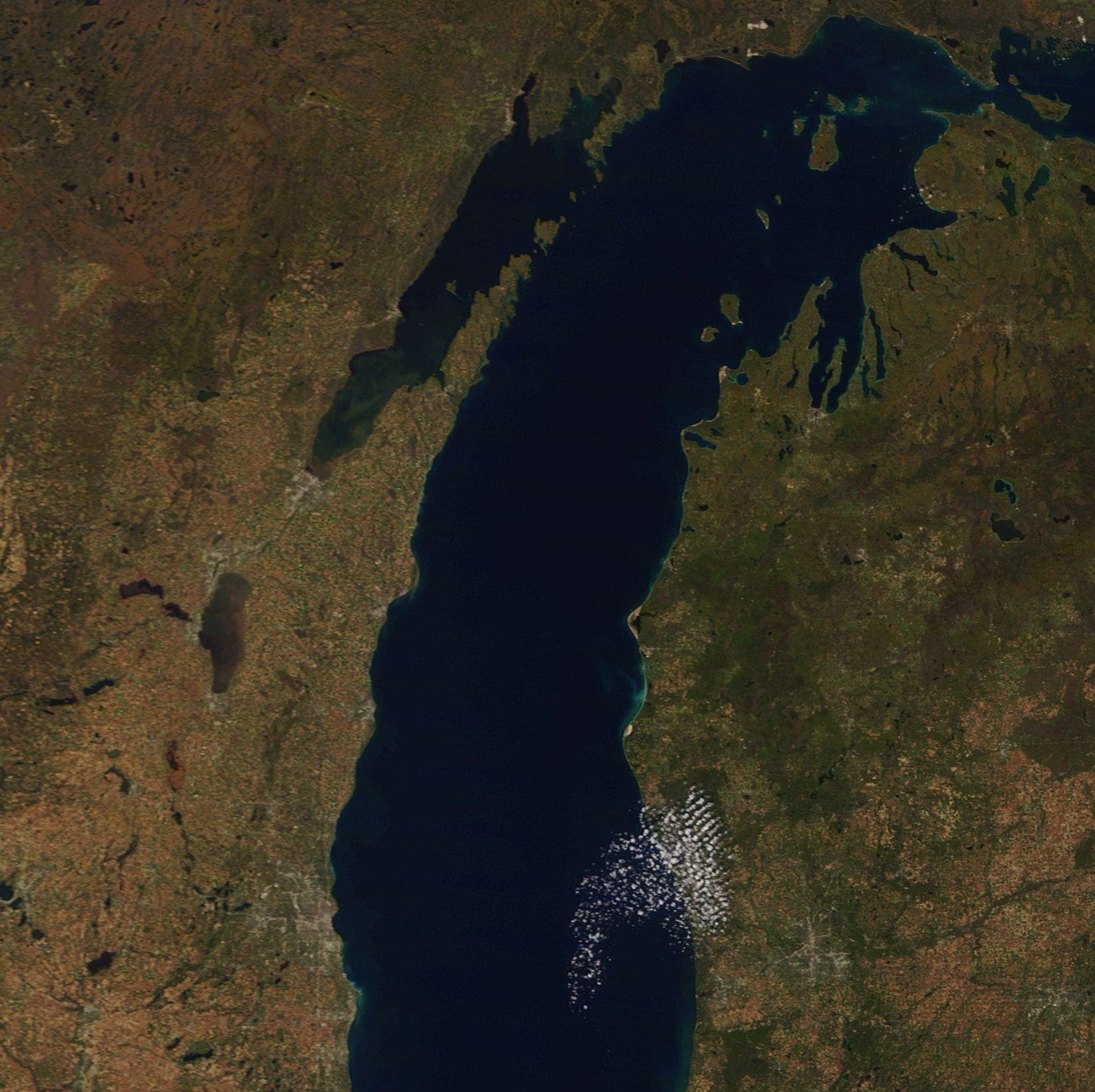 You can see Michigan's gorgeous fall colors from space