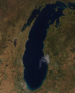 Michigan's fall colors are visible from space, in this October 18, 2018 image from the National Oceanic and Atmospheric Administration.
