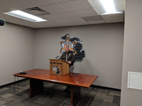 Macomb County Sheriff Anthony Wickersham speaks to the media on Friday, Oct. 19, 2018.