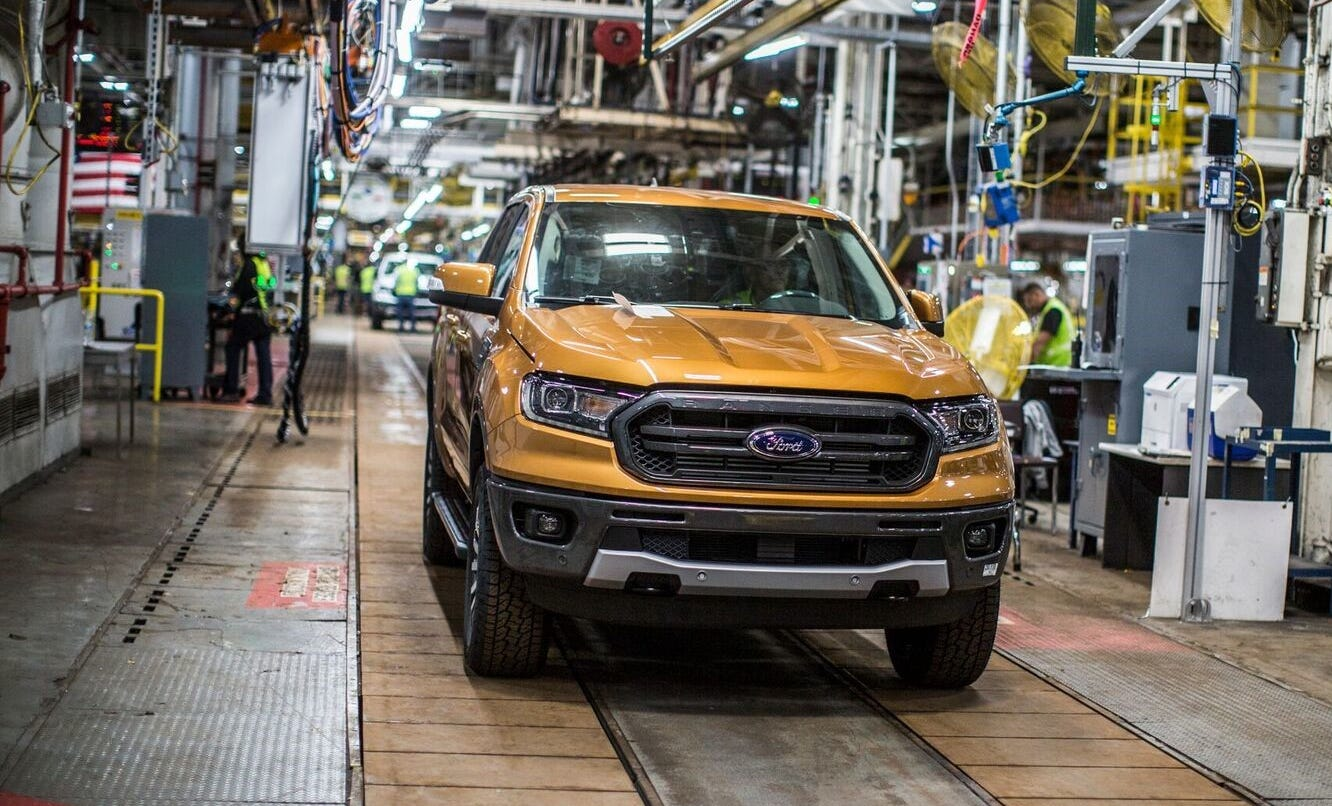 A 2019 Ford Ranger rolls off the assembly line in September 2018 during employee training at Michigan Assembly Plant.