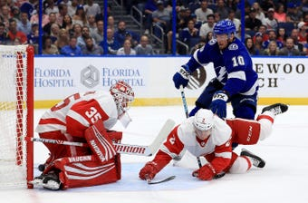 The Red Wings winless streak grew to 0-5-2, but there were positives in their latest loss. Filmed Oct. 18, 2018 in Tampa, Fla.