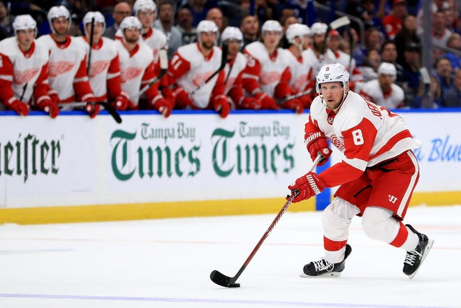 Justin Abdelkader #8 of the Detroit Red Wings carries the puck during a game against the Tampa Bay Lightning at Amalie Arena on Oct. 18, 2018, in Tampa, Florida.