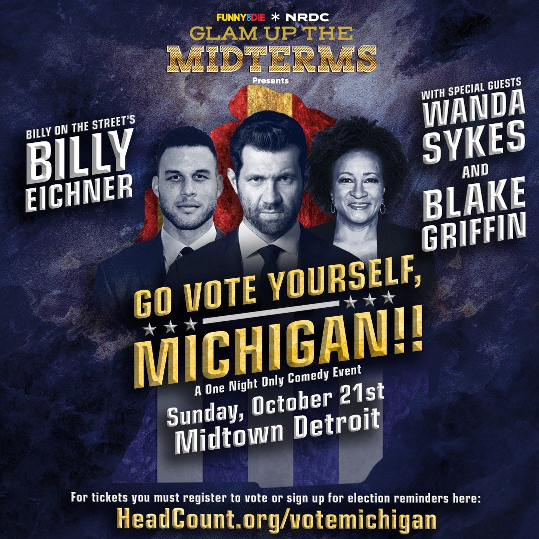 Promotional art for  the 'Glam Up the Midterms' event in Detroit on October 21, 2018.