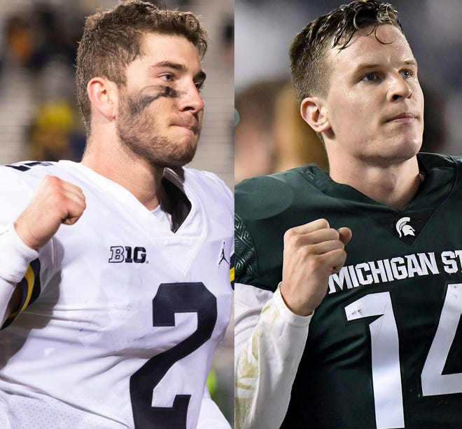 Michigan quarterback Shea Patterson, left, and Michigan State QB Brian Lewerke will do battle Saturday in East Lansing at Spartan Stadium.