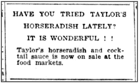 An advertisement for Taylor's horseradish in the Elmira Advertiser on March 7, 1961.