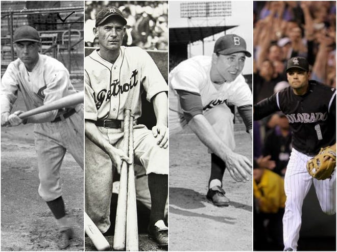(Left to right)  Edd Roush, Pete Fox, Gil Hodges and Jamey Carroll