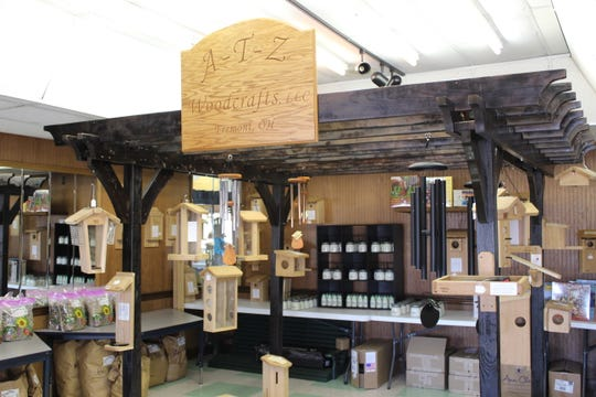 A-T-Z Woodcrafts, a local Fremont business, offers hand-made birdhouses for sale at Bark Creek Pantry, 1789