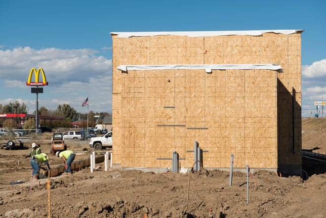 Construction continues on a new Taco Bell restaurant near 6th Street in Wellington on Thursday, October 18, 2018.