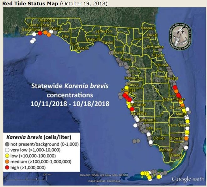 The Oct. 19 FWC red tide report