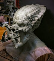 "Wayne Anderson's sculpture for the ""hero head"" (the design of the main monster mask) in the new movie ""The Predator."""