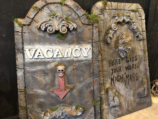 Tombstones in the new Legends of Oblivion Haunted House in North Fort Myers.