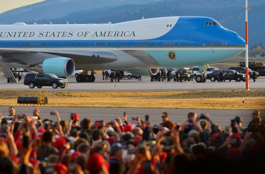President Donald Trump arrives in Air Force One at Missoula International Airport, Thursday, for a campaign rally in support of Matt Rosendale and Greg Gianforte.