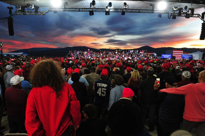 President Donald Trump holds a campaign rally in support of Matt Rosendale and Greg Gianforte at Minuteman Aviation Hanger at the Missoula International Airport, Thursday evening in Missoula, Mont.