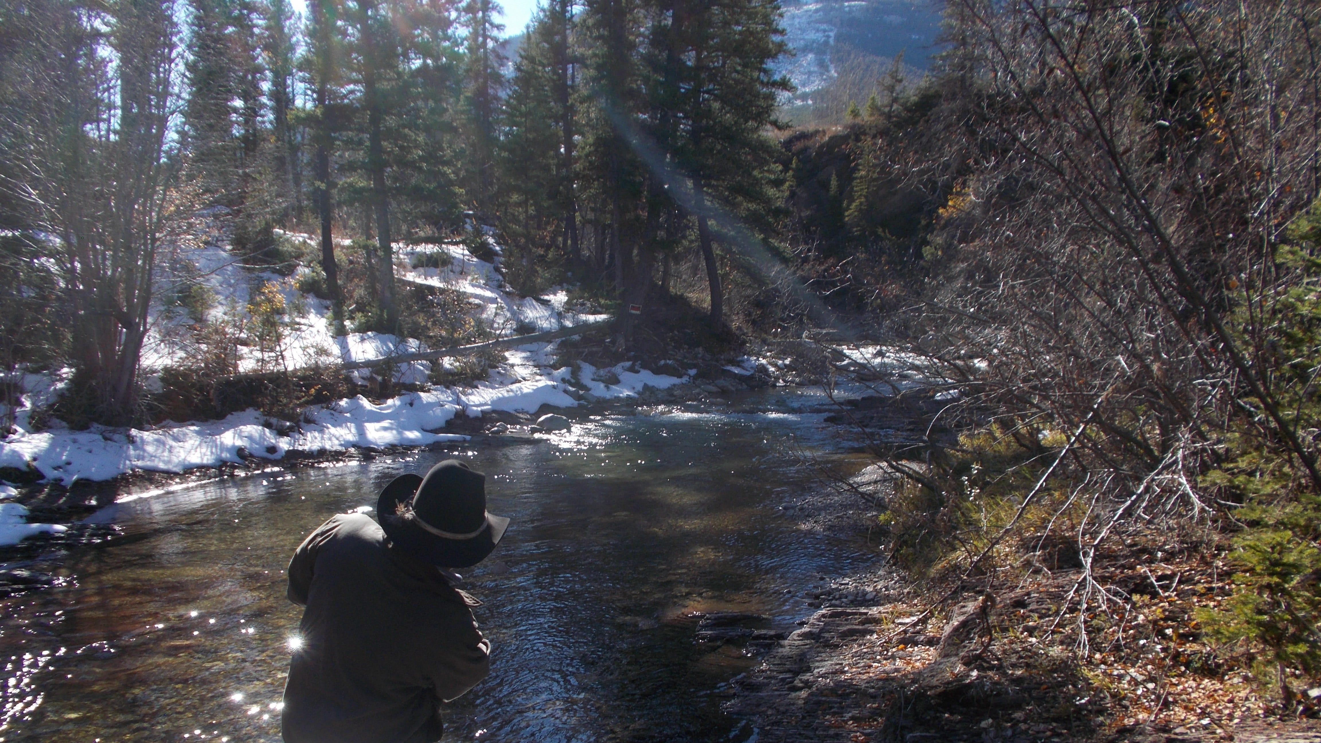 Dan Barrett skips a rock on Falls Creek where it flows across his land. Barrett is planning to sell more than 400 acres of his land which  will open up access to several thousands acres of public land in Helena-Lewis and Clark National Forest.