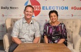 """Gubernatorial candidates Lt. Gov Ray Tenorio and former Sen. Lou Leon Guerrero share something they admire about one another during """"Convos with the Candidates"""" on Oct. 19, 2018."""