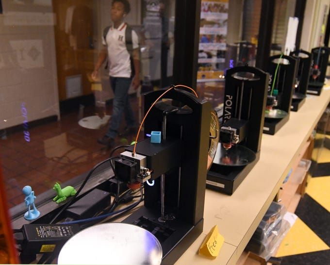 Multiple 3D printers are displayed in the Eagle Maker Hub at Southern miss on Wednesday, Oct. 17, 2018.