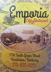 The cover of the menu at the Emporia Cafe & Restaurant.