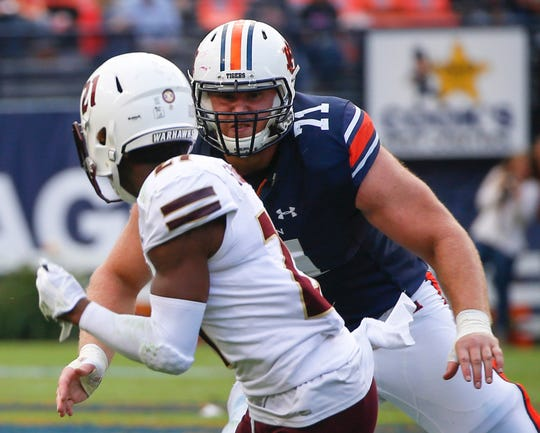 Auburn isn't known for developing NFL- caliber offensive linemen. The Colts' Braden Smith may be an exception. In a 2017 Auburn game, Smith blocked against a Louisiana Monroe player.
