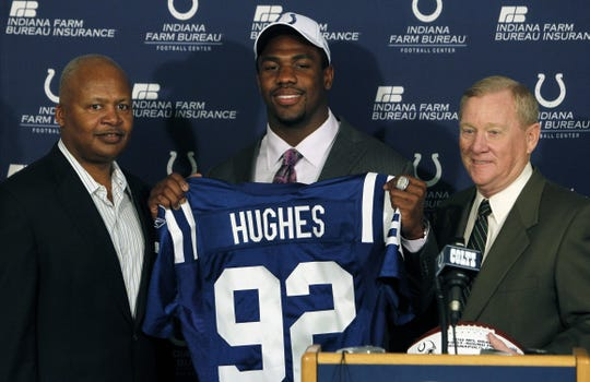 Jerry Hughes never developed in the Colts defense. He was introduced by Colts coach  Jim Caldwell and  President Bill Polian at the Colts Complex on April 23, 2010.