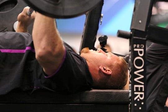 Braden Smith recorded 35 repetitions on the bench press at the NFL Combine in Indianapolis in March.