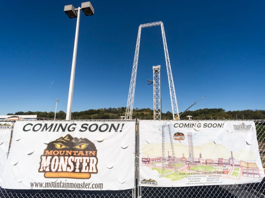 Work continues at Mountain Monster, a shopping and entertainment development under construction in Pigeon Forge, on Thursday, October 18, 2018.