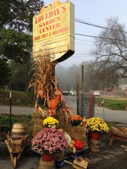 A beautiful fall display greets guests at Loveday's Garden Center.