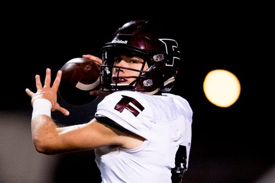 Fulton's Tommy Sweat (9) throws a pass during a football game between West and Fulton at West High School in Knoxville, Tennessee on Thursday, October 18, 2018.