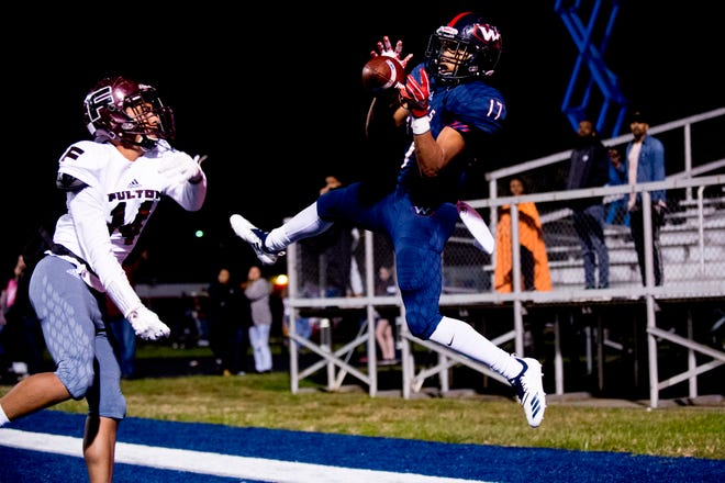 West's Chris Harvey (17) catches the ball for a touchdown during a football game between West and Fulton at West High School in Knoxville, Tennessee on Thursday, October 18, 2018.