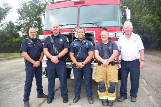 Karns firefighters Jay Gregory, Tony Lainge, Christian Steward, Greg Parton, and Assistant Chief Jim Dyer gave interactive fire safety demonstrations to all the students at Karns Elementary School during the week of Oct. 15.