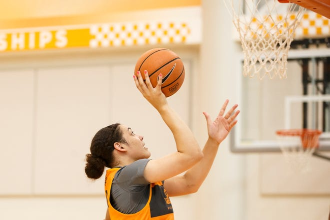 Tennessee freshman Mimi Collins during a recent practice at Pratt Pavilion in Knoxville.