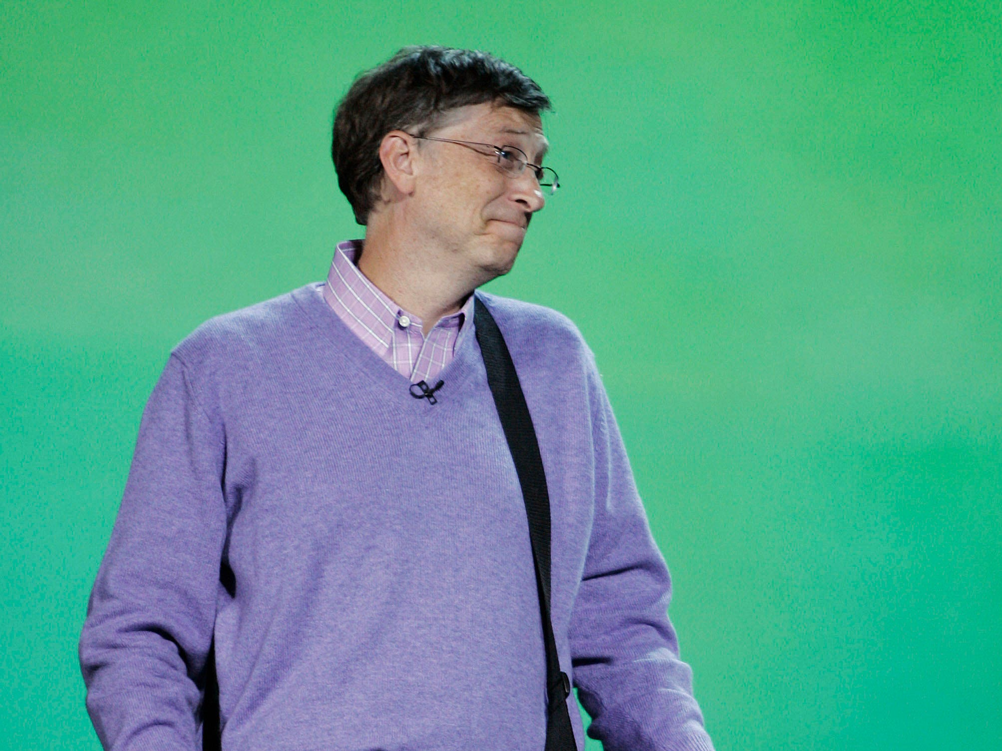 Microsoft chairman Bill Gates  plays an Xbox guitar during his keynote address at the Consumer Electronics Show (CES) in Las Vegas, Sunday, Jan. 6, 2008 .