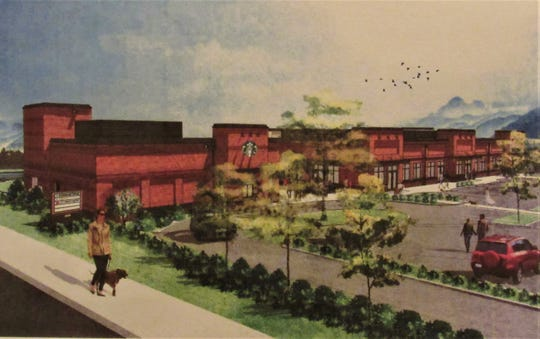 An artist's rendering of the Farragut Gateway project as seen from Kingston Pike.  Applicant Middlebrook Properties received approval from MPC to amend the site plan to include compatible screening for HVAC units.