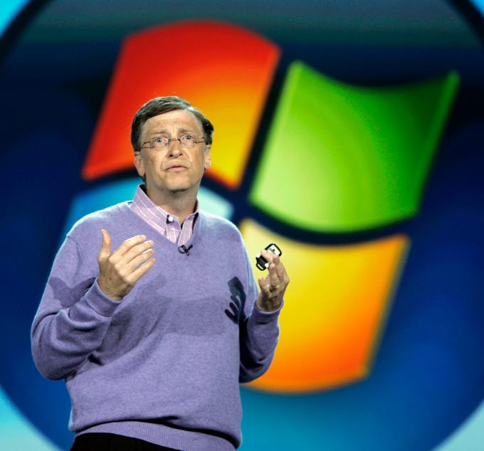 Microsoft chairman Bill Gates speaks at keynote address at the Consumer Electronics Show (CES) in Las Vegas, Sunday, Jan. 6, 2008 .