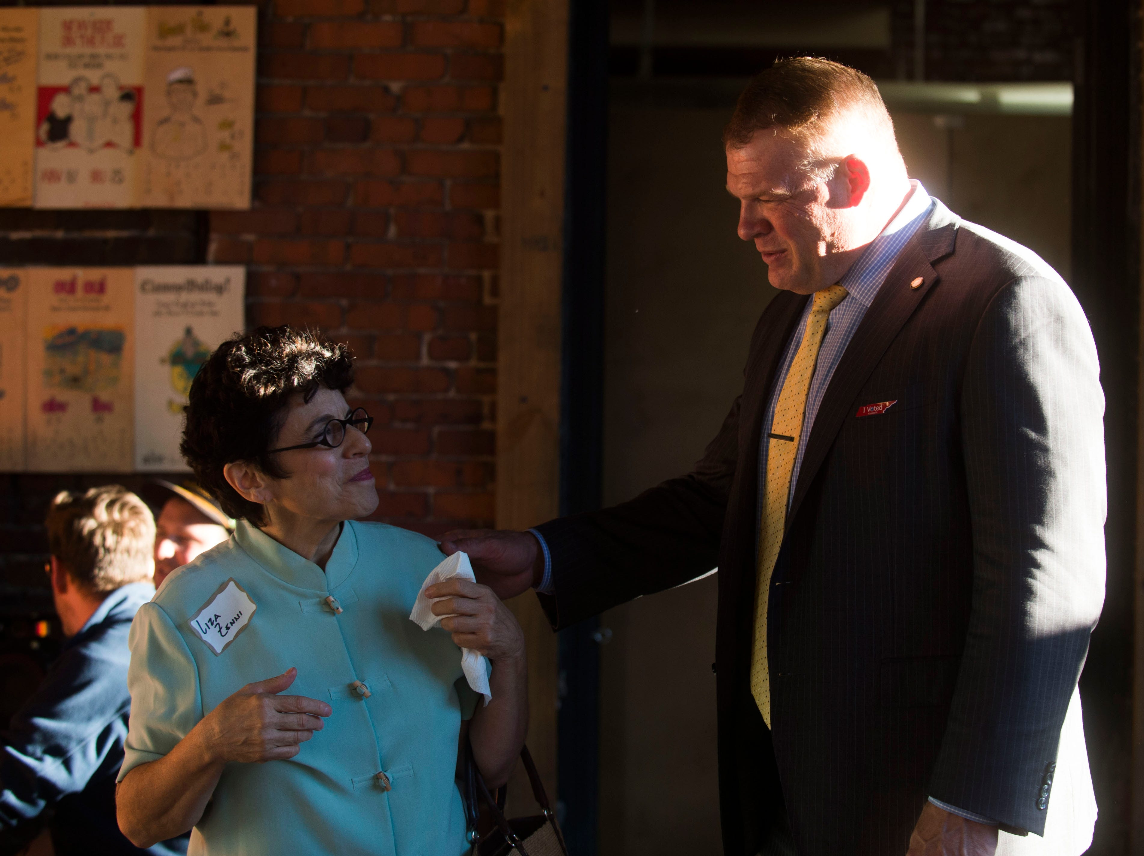 Knox County Mayor Glenn Jacobs speaks with an attendee at the News Sentinel's second News & Brews event at Pretentious Beer Co. Thursday, Oct. 18, 2018. Knox County Mayor Glenn Jacobs participated in a Q&A session lead by reporter Tyler Whetstone.