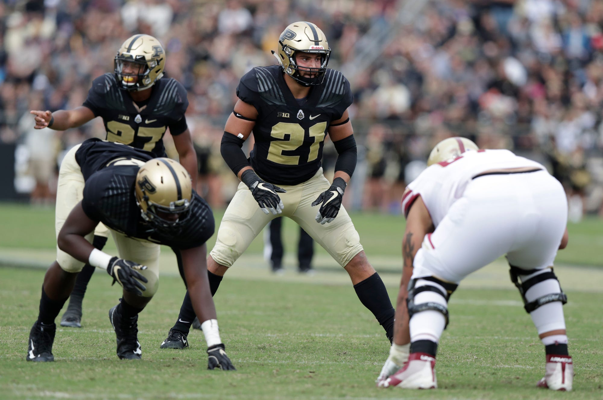 Purdue linebacker Markus Bailey (21) lines up against Boston College during the second half of an NCAA college football game in West Lafayette, Ind., Saturday, Sept. 22, 2018. Purdue defeated Boston College 30-13. (AP Photo/Michael Conroy)