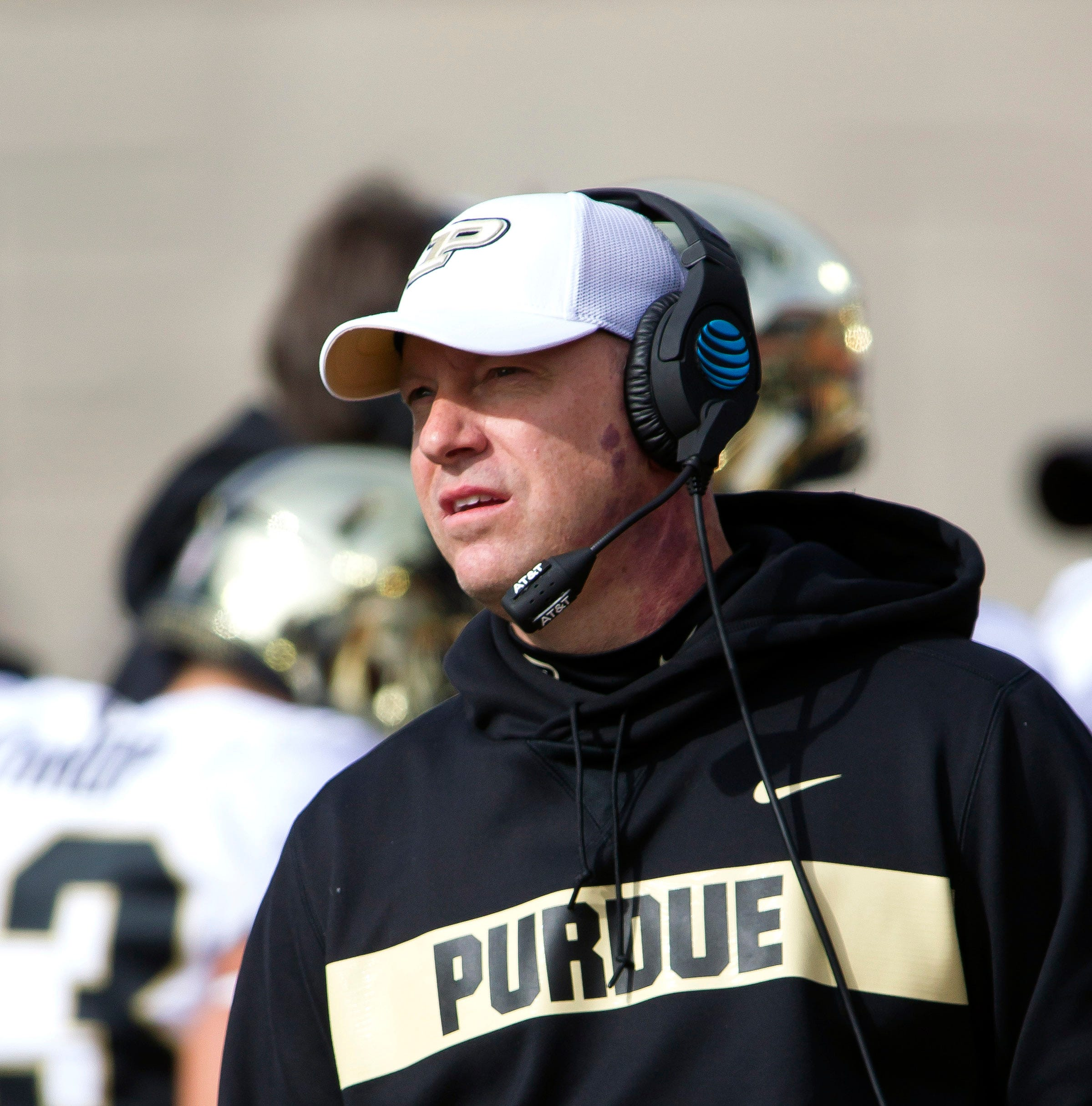 Oct 13, 2018; Champaign, IL, USA; Purdue Boilermakers head coach Jeff Brohm observes his team before the start of the first quarter against the Illinois Fighting Illini at Memorial Stadium. Mandatory Credit: Mike Granse-USA TODAY Sports