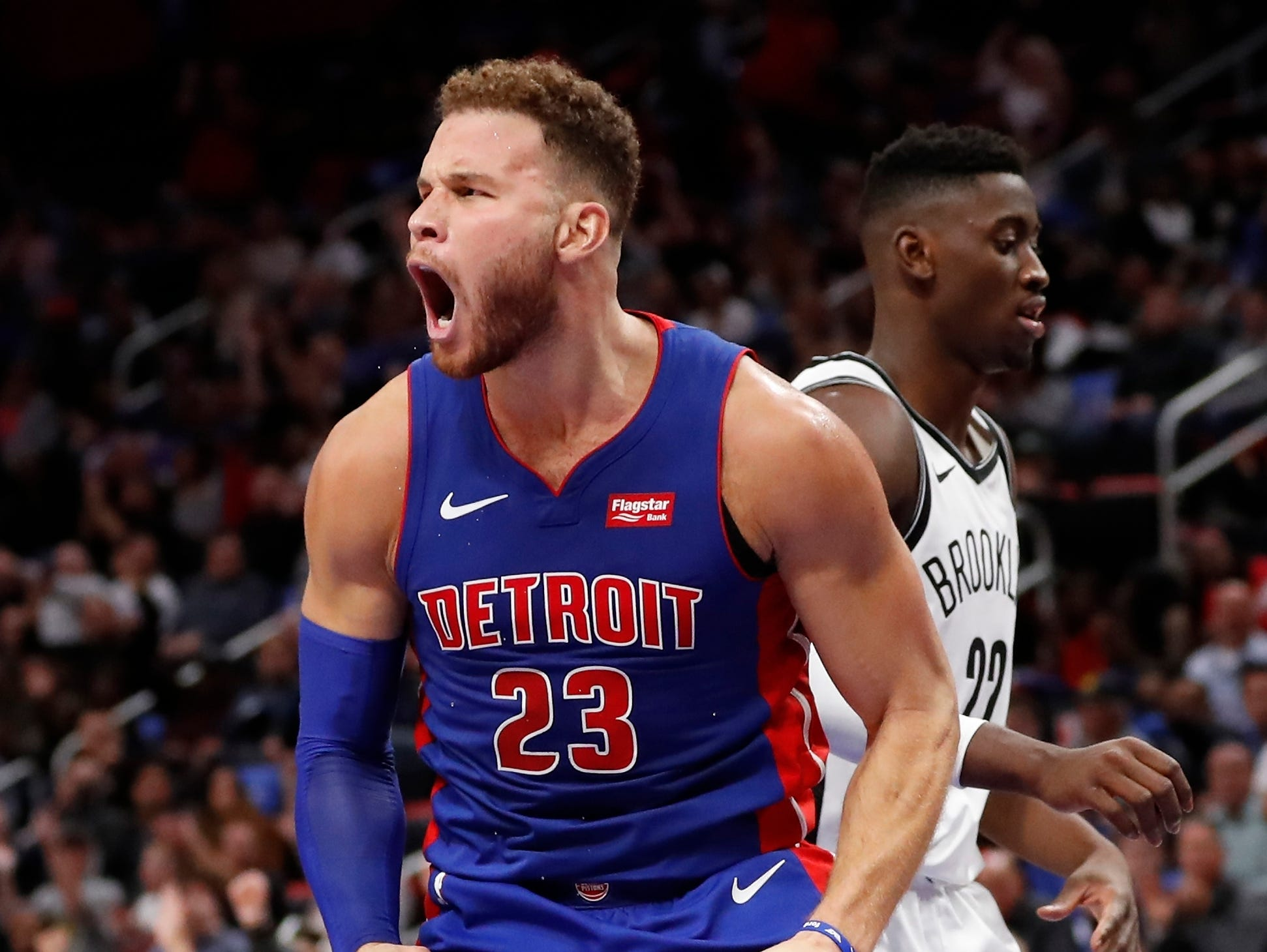 Detroit Pistons forward Blake Griffin reacts after scoring during the second half of an NBA basketball game against the Brooklyn Nets, Wednesday, Oct. 17, 2018, in Detroit. (AP Photo/Carlos Osorio)