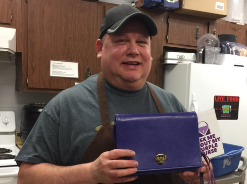 Randy Griffin of Two Guys Catering has his purse in the kitchen.
