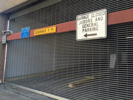 The Buchanan Street parking garage near the Lafayette Parish courthouse was deemed unsafe and remains closed.