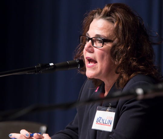 Ann Bollin, Republican candidate for Representative of the 42nd State District, explains her stance in the candidates forum held Thursday, Oct. 18, 2018.
