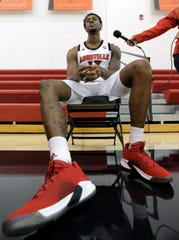 Louisville's V.J. King is interviewed at the team's media day on Friday.Oct. 19, 2018