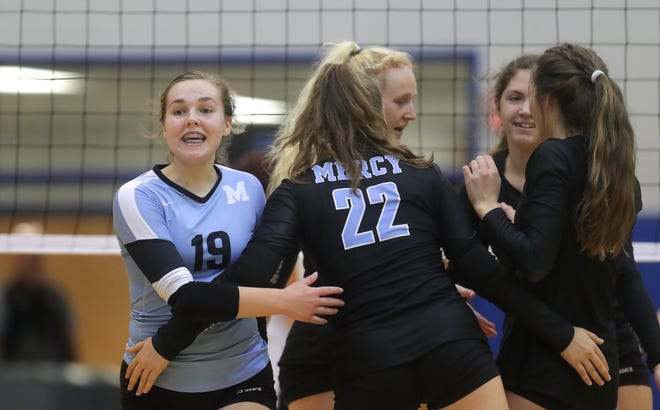 Mercy's Eleanor Beavin and the rest of the Jaguars celebrate after scoring against Holy Cross. Oct. 18, 2018