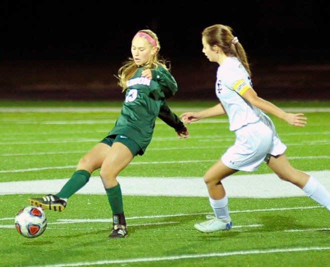 Madison's Taylor Huff kicks the ball while playing against Tiffin Columbian on Thursday evening.