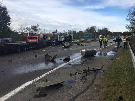 Debris litters US 30 at Ohio 603 following a crash involving two comercial vehicles on Friday, Oct. 20.