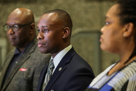 October 19 2018 - Shelby County Commission Chairperson Van Turner along with Commissioner Reginald Milton, left, and Commissioner Tami Sawyer, right, speak during a press conference after news that the U.S. Department of Justice is closing its agreement to monitor Shelby County Juvenile Court operations and those of the Shelby County Detention Center.